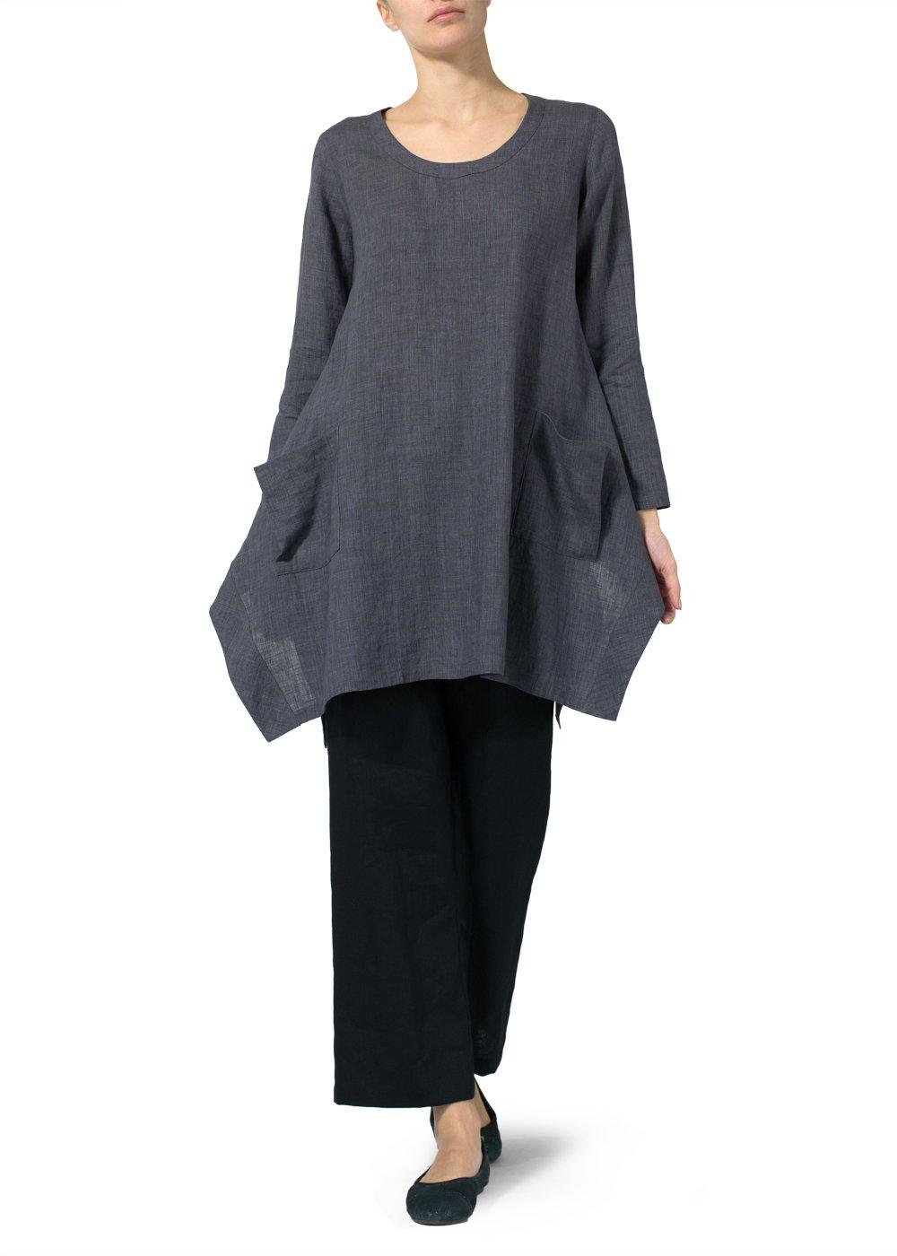 Vivid Linen Long Sleeve Top-4X-Smokey Gray