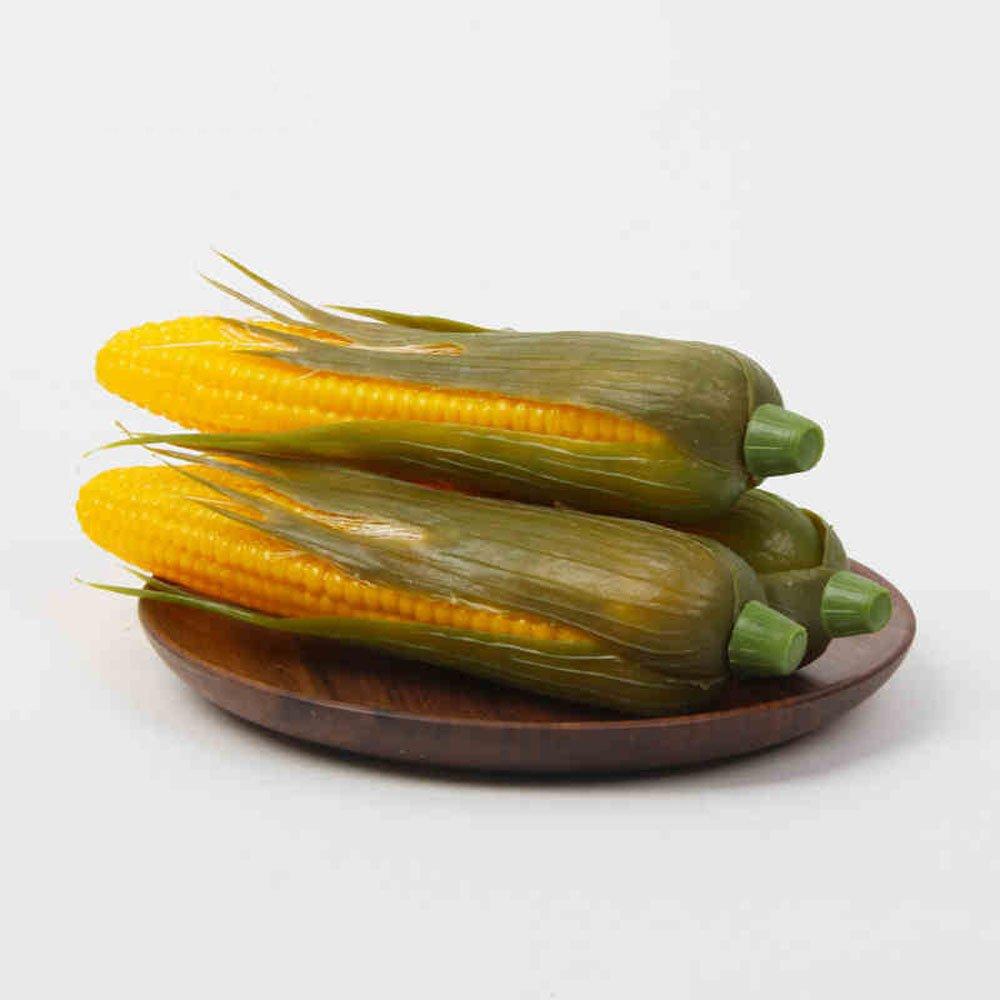 RoundLove 3 pcs Artificial Lifelike Simulation Yellow Corn Fake Vegetable for Home House Christmas Decoration