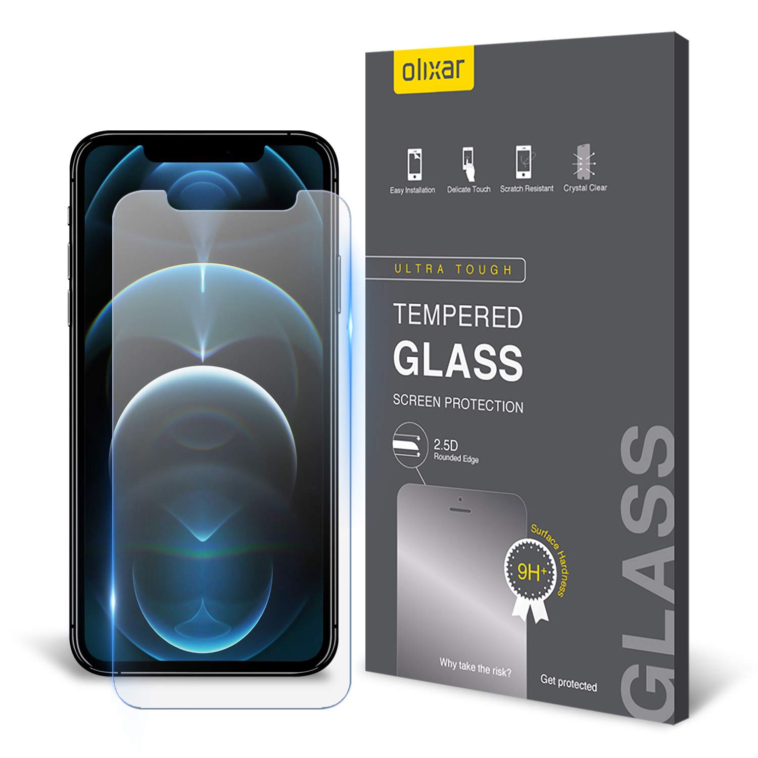 Olixar Screen Protector for iPhone 12 Pro Max, Tempered Glass - Reliable Protection, Supports Device Features - Full Video Installation Guide