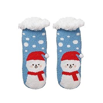 LFY Calcetines Casuales de Vacaciones navideñas para Mujer - Calcetines Coloridos y Divertidos para Regalos Originales Calcetines Calientes (Color : Azul): ...