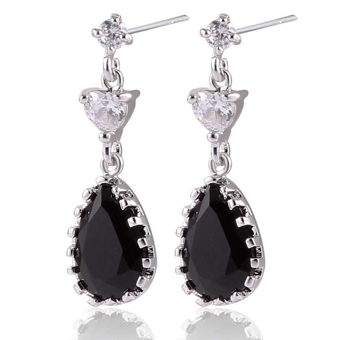 GULICX Party Teardrop Love Heart Crystal Zircon Pierced Black Drop Dangle Earrings Silver Tone