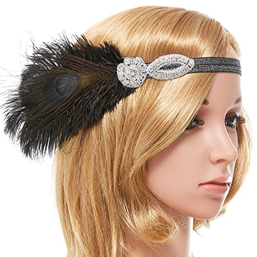 Peacock Flapper Headband (eforpretty Black 1920s Vintage Art Deco Flapper Headband with Peacock Feather Rhinestone Wedding Flower,One Size)
