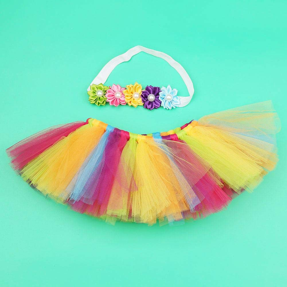 Infant Toddler Girls Photo Studio Layered Colorful Tutu Ruffle Tiered Skirt with Flower Headband for 1-6 Months Baby Pettiskirt Rainbow Tutu Skirt