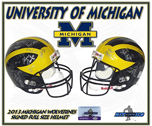 2013-MICHIGAN-WOLVERINES-Team-Signed-FULL-SIZE-HELMET-wCOA-Autographed-College-Helmets