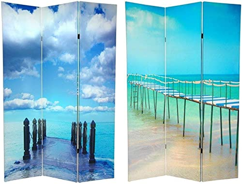 Oriental Furniture 6 ft. Tall Double Sided Ocean Room Divider