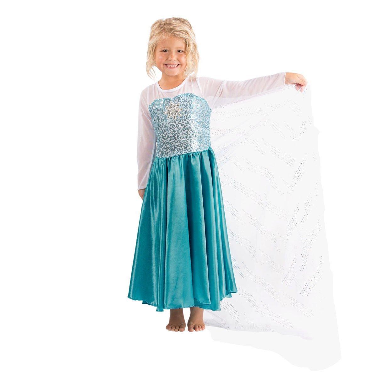 Katara - Vestido de princesa Elsa de Frozen Reina de la Nieve traje de disfraz con lentejuelas y tren de tul, azul-blanco para niñas de 2-3 años: Amazon.es: ...