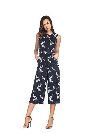 b9588777ca93 Amazon.com  Hrokk Women s Bird Print O-Neck Sleeveless Waist Tie Wide Leg  Petites Jumpsuit  Clothing