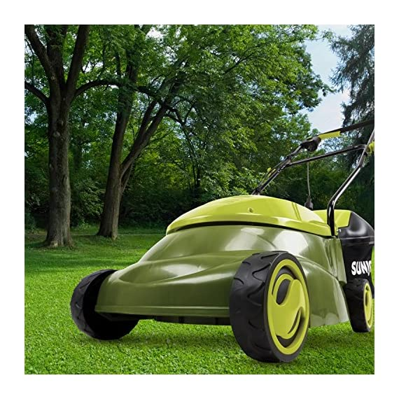 Sun joe mj401e 12 amp electric lawn mower 6 powerful: 13-amp motor cuts a 14-inch wide path adjustable deck: tailor cutting height with 3-position height control steel blades: durable 14-inch steel blade cuts with precision