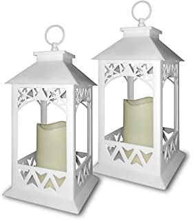 white lanterns set of 2 bright white decorative lanterns with a led candle and 5