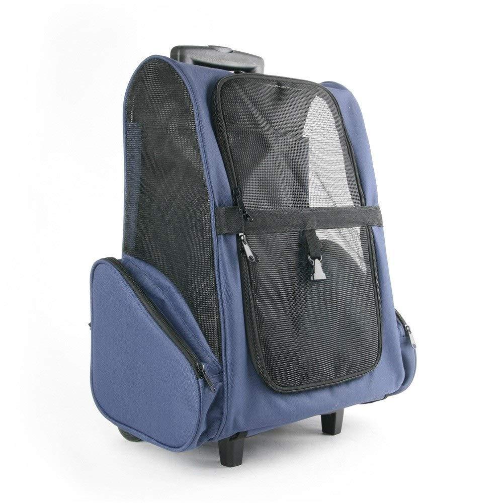 bluee ZPWSNH Foldable Removable Pet Trolley Bag Pet Trolley Case Dog Cart Pet car seat (color   bluee)