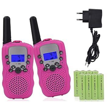 2 x Walkie Talkie Set para niños con cargador y baterías ...