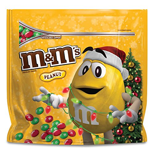 M&M'S Christmas Peanut Chocolate Candy Party Size 42-Ounce Bag (Candy Shell Dish)