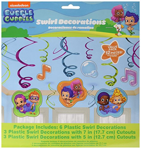 Amscan Lovely Bubble Guppies Value Pack Foil Swirl Birthday Party Hanging Decoration, 7