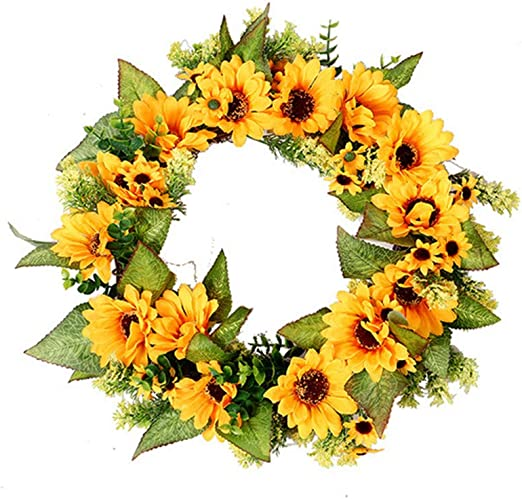 Amazon Com Mikilon Artificial Sunflower Summer Wreath 18 Inch Decorative Fake Flower Wreath With Yellow Sunflower And Green Leaves For Front Door Indoor Wall Décor Yellow Home Kitchen