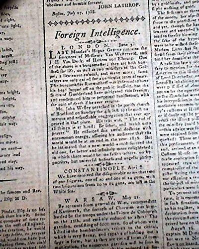 Newspaper Advertiser Daily (18th Century PHILADELPHIA Government ? & John Wesley 1788 Pennsylvania Newspaper PENNSYLVANIA PACKET & DAILY ADVERTISER, Philadelphia, Sept. 16, 17...)