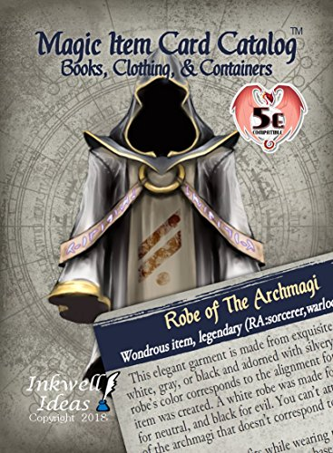 Inkwell Ideas Magic Item Card Catalog (5e): Books, Clothing, & Containers