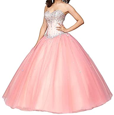 XUYUDITA Womens Sweetheart Crystals Ball Gown Long Prom Quinceanera Dresses: Amazon.co.uk: Clothing