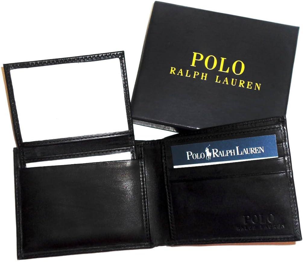 New Genuine Ralph Lauren Polo de Piel de Color Negro Bifold Wallet ...