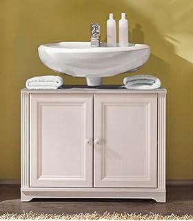 Waschtisch Kommode JASMIN Waschbeckenunterschrank Landhaus Lärche Weiß