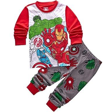 5ae28d8b79 Amazon.com  Iron Man Pyjamas Boys Nightwear Sleepwear Cotton Winter Long  Sleeve 2 Piece Set  Clothing
