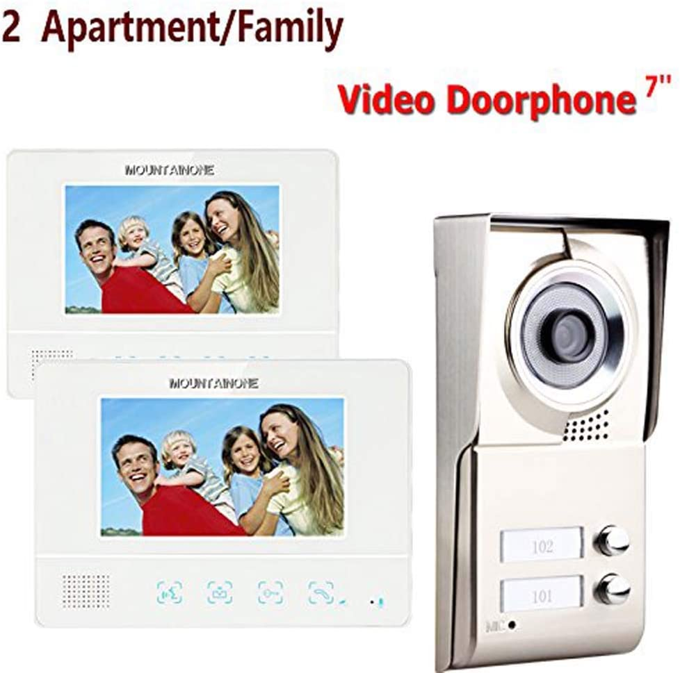 MOUNTAINONE 2 Apartment Family Video Door Phone Intercom System 1 Doorbell Camera with 2 button 2 Monitor Waterproof SY811WMC12