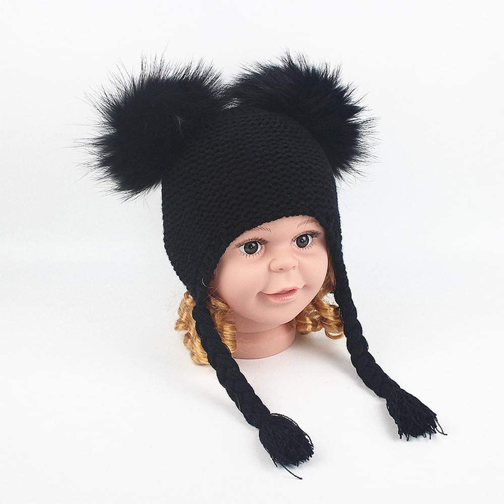 Winter Hat Scarf Boys Girls Knit Solid Color Cute Pompom Hat Thick Plus Velvet