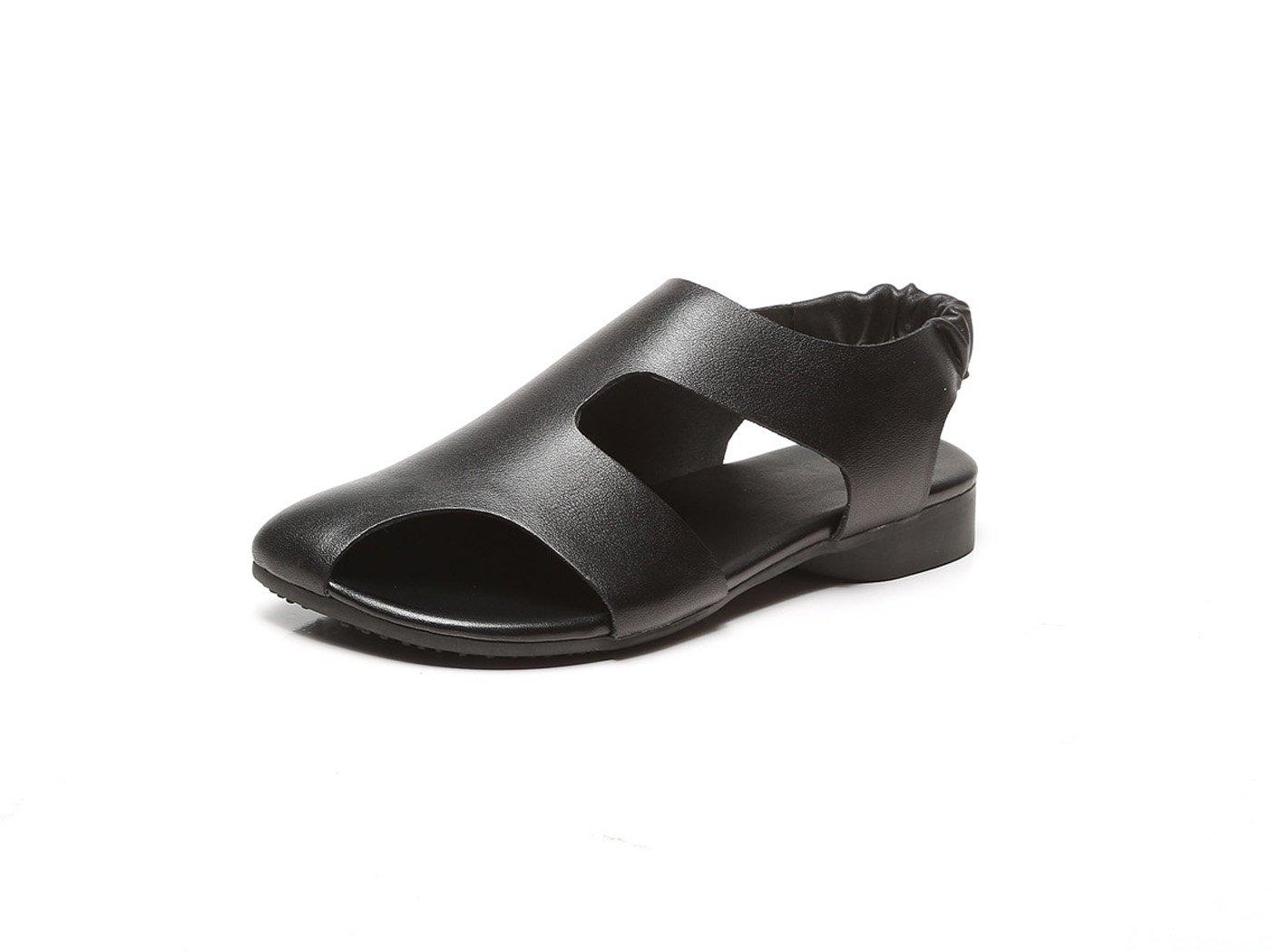 DANDANJIE damen Sandalen Sommer Retro Schuhe Flachen Absätzen weichen Sohlen römischen Sandalen für Outdoor Casual Größe 35-40 (schwarz braun) (Farbe   Schwarz Größe   38)