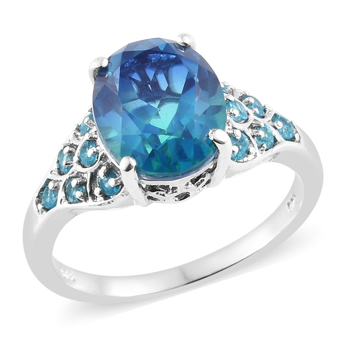 925 Sterling Silver Platinum Plated Oval Ocean Quartz, Neon Apatite Ring for Women Size 9 Cttw 4.8