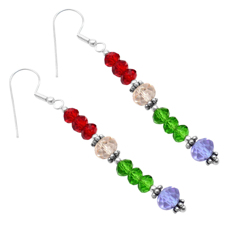 Green /& Blue Quartz Gemstone 925 Silver Plated Earring PG-103145 Silvestoo Jaipur Red