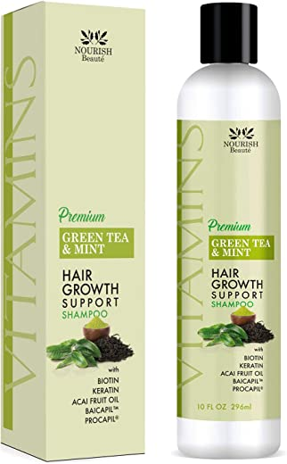 Nourish Beaute Vitamins Premium Shampoo for Hair Loss to Promote Hair Regrowth, Volume and Thickening with Biotin, DHT Blockers and Antioxidants, For Men and Women, 1 Pack 10 Ounces, Green Tea Mint