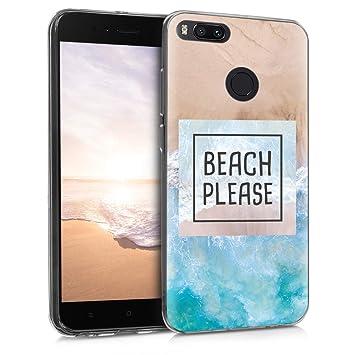 kwmobile Funda para Xiaomi Mi 5X / Mi A1 - Carcasa de TPU para móvil y diseño Beach Please en Azul/marrón