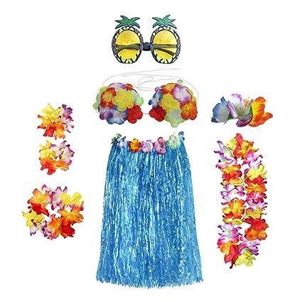 eb96252ee244b Amazon.com: STOBOK 8pcs Tropical Hula Grass Skirt Hawaiian Fancy Dress  Costume Set Flower Leis Ankle Bracelet Headband Necklace Set with Pineapple  ...