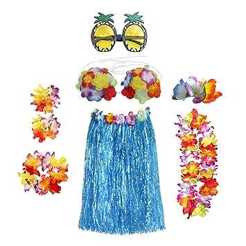 Toyvian Falda Hawaiian Falda de Hierba con Flores Collar Pulsera ...