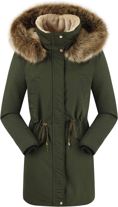 TFO Womens Winter Coats Outwear Jacket Parkas with Faux Fur Lined Hood