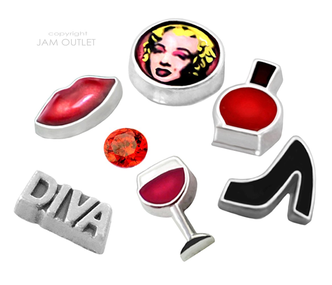 7 pc MARILYN MONROE DIVA Glamour Floating Charm Set - Fits ALL 30mm Living Memory Lockets