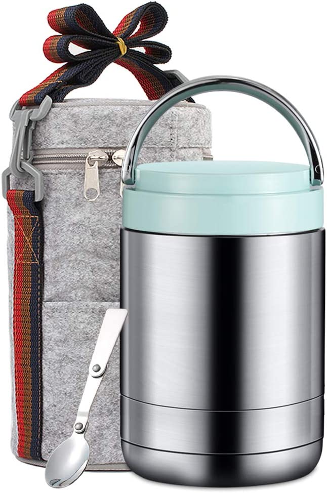 ArderLive Insulated Food Jar,34 oz Lunch Thermos with Spoon, Leak Proof Stainless Steel Lunch Containers,Hot Cold Food for School Office Picnic Travel Outdoors. (light blue,42oz)