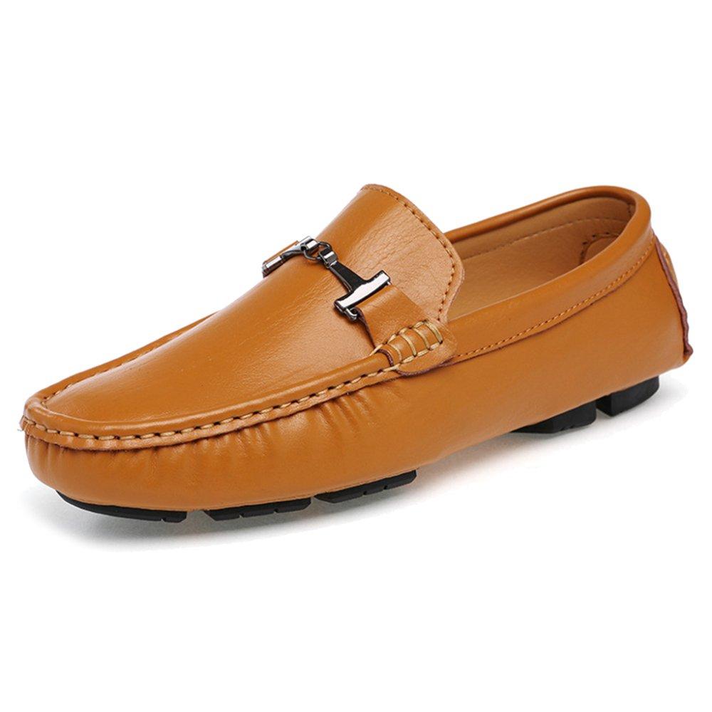 MERRYHE Zapatos De Cuero Clásicos del Barco De Los Hombres Mocasines Planos Resbalón En Mocasines Zapato De La Cubierta Calzado De Conducción,Yellow-39 39|Yellow