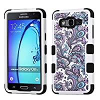 Asmyna Cell Phone Case for Samsung On5 - Purple European Flowers/Black