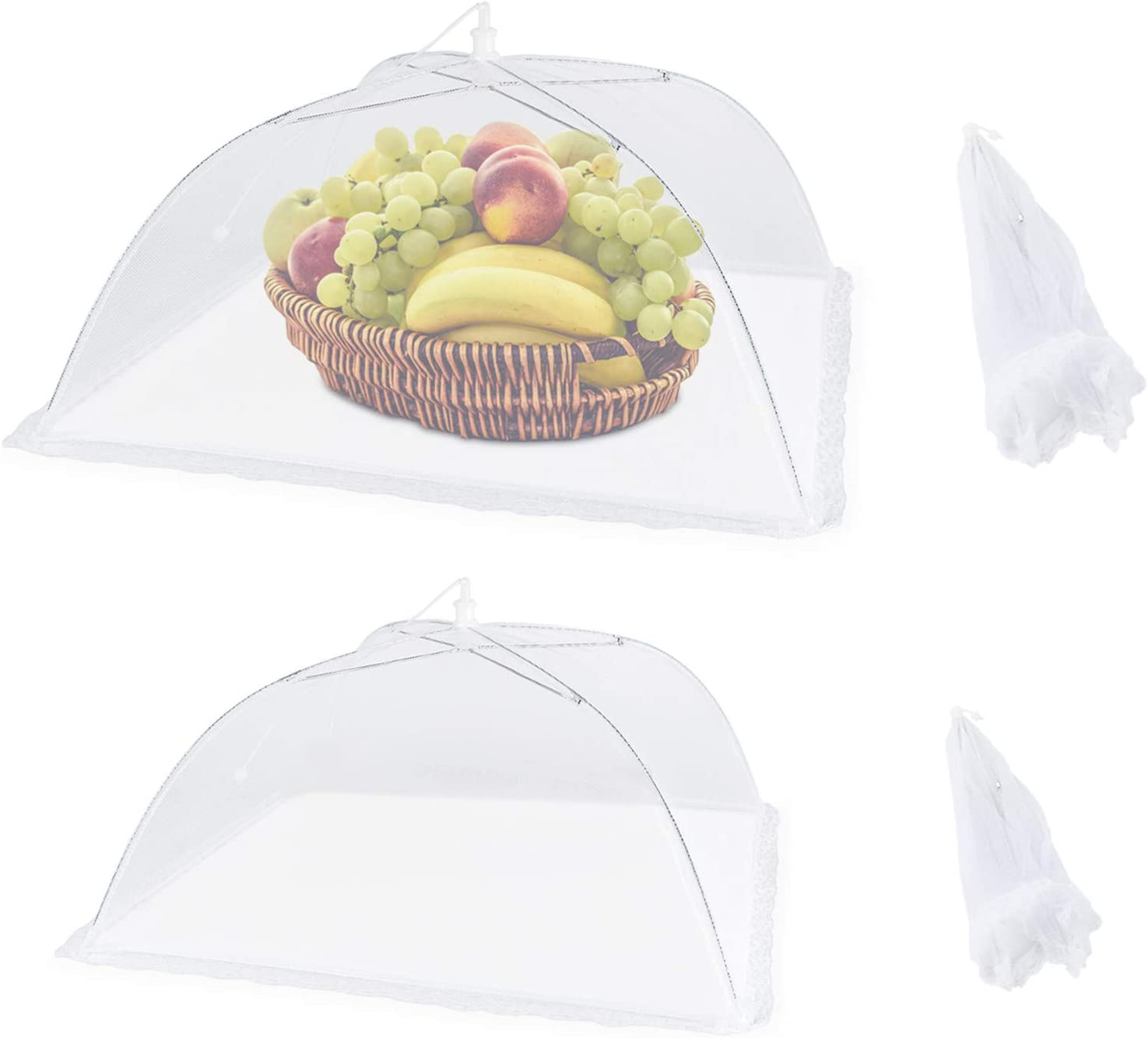 Mesh Food Covers for Outdoors - 7 pack Pop-up Outdoor Food Covers for Picnics, Foldable Large Outdoor Food Insect-proof Net Cover with Lace Edge, Perfect for Picnic, BBQ, Party (17