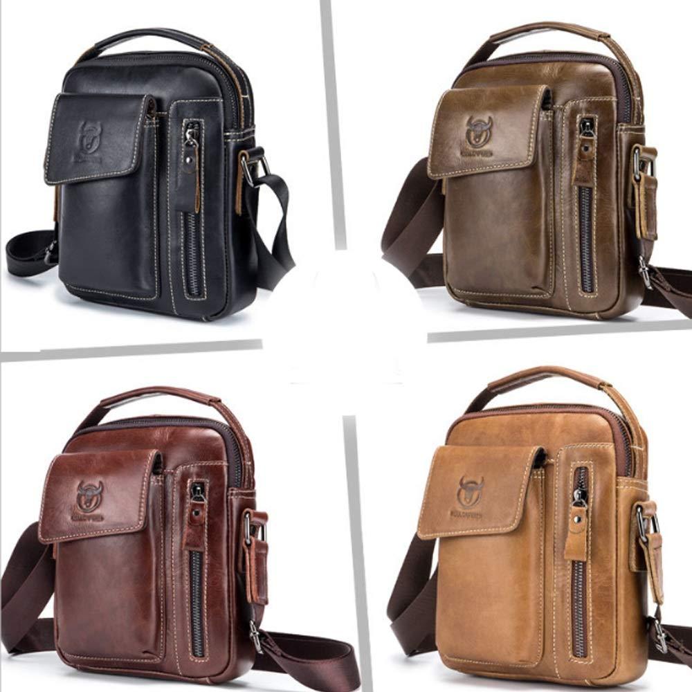 Mens Shoulder Bag Suede Leather Messenger Bag Sports and Leisure Leather Vertical Men Small Shoulder Bag Bags Color : Brass, Size : M
