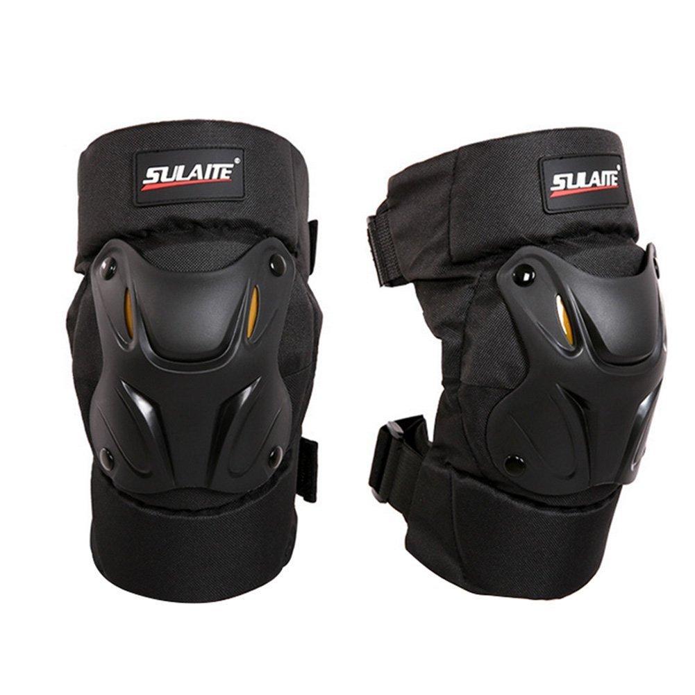 Qlan Motocyclette Motocross Bike Racing Knee Pads Protector Guards Armor Gear Noir 1Pair