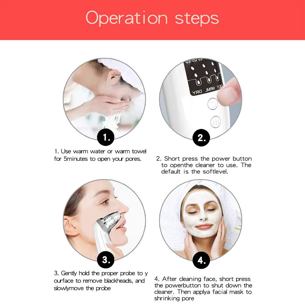 Blackhead Remover Vacuum Pore Cleaner - VIPpro Upgraded USB Rechargeable Blackhead Removers Pore Vacuum Cleaner with 6 Replaceable Suction Head and 3 LED Light Beauty Lamp Care for Women and Men