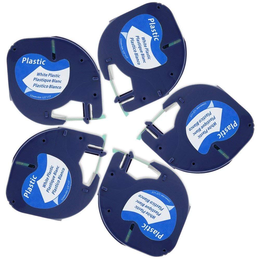 5x Compatibile Nastri Dymo LetraTag etichette in plastica 12mm x 4m (Dymo S0721610, Dymo 91201), Nero su bianco, adatto a Dymo LetraTag LT-100H, LT-100T, XR Markurlife
