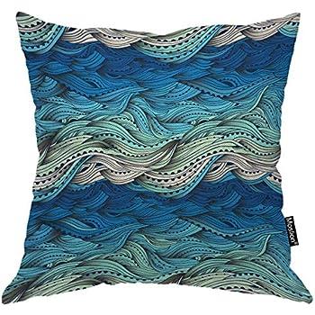 Moslion Wave Pillows Ocean Sea Water Gradient Blue Beach Waves Lines Stripes Throw Pillow Cover Decorative Pillow Case Square Cushion Accent Cotton Linen Home 18x18 Inch