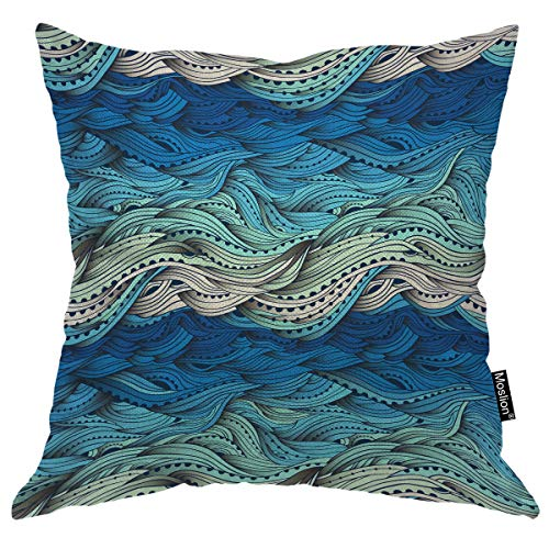 Moslion Wave Pillows Ocean Sea Water Gradient Blue