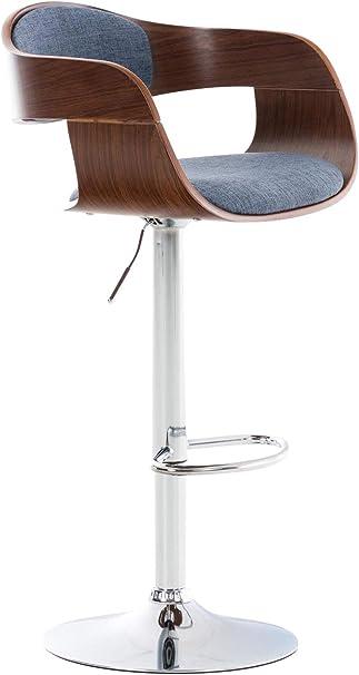 Cha Tabouret de Bar Kingston Similicuir R/églable en Hauteur Couleurs:Noyer//Blanc Chaise Haute de Cuisine avec Dossier Accoudoirs Repose-Pied Chaise Pivotante