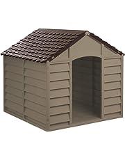 Caseta de plástico duradero para perro, para exterior, color marrón