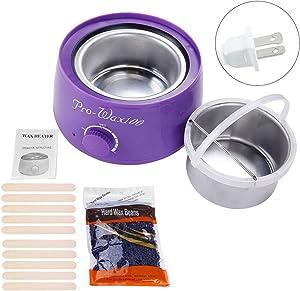 Yuniroom Wax Warmer Kit Complete Waxing Kit Heater Wax Pot Hair Removal Hot Wax Bean Stick Machine Kit Wax Bean + 10pcs Spatulas