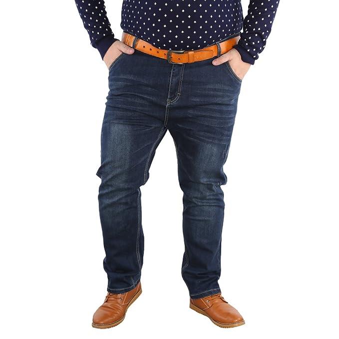 ace8765bd31 Zhiyuanan Hombre Jeans El Gato De La Manera Vaqueros Holgados Talla Grande  Cintura Alta Pantalones De Mezclilla Sueltos Gordos Tejanos Pantalón Rectos  ...