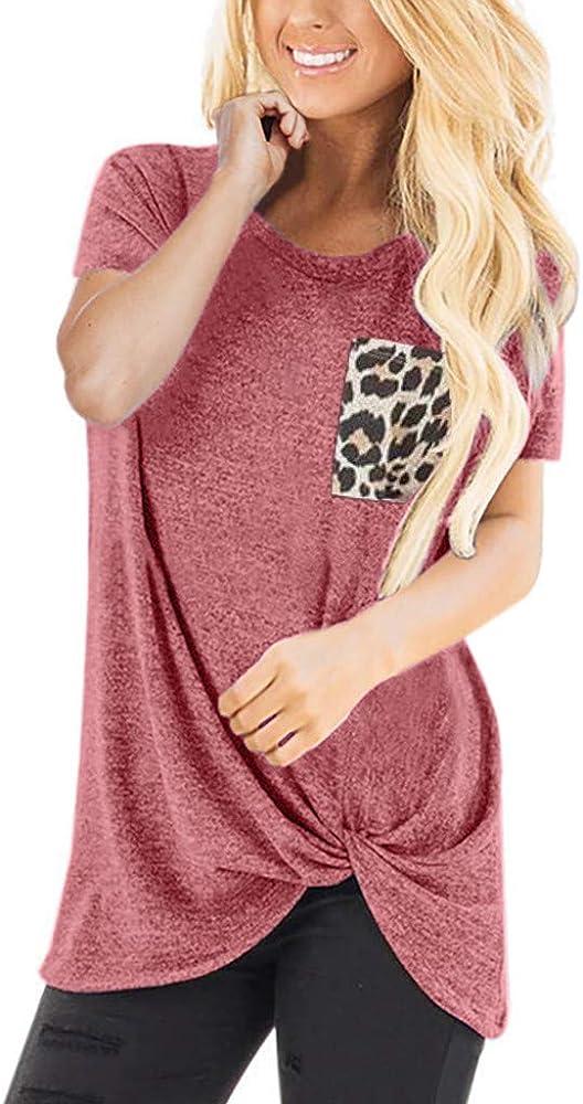 Camisa Mujer Casual Leopardo Patchwork Bloque de Color Cuello en V Asimétrico Manga Larga T-Shirt Camiseta Blusa Basic Tops Camisetas Pullover Túnica: Amazon.es: Ropa y accesorios